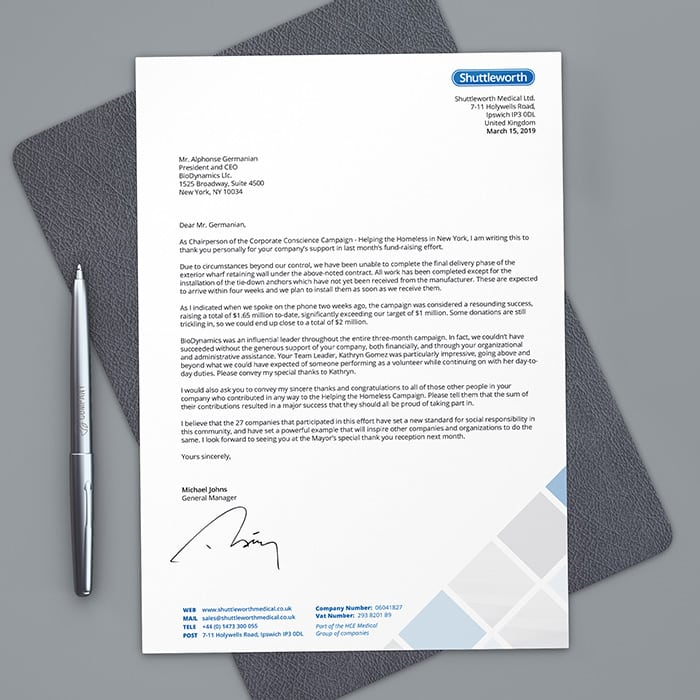 Shuttleworth Letterhead Design Business