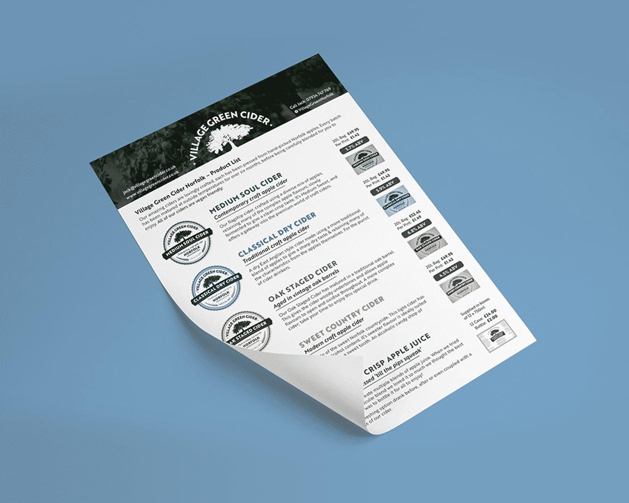 Cider Sales Sheet Printed