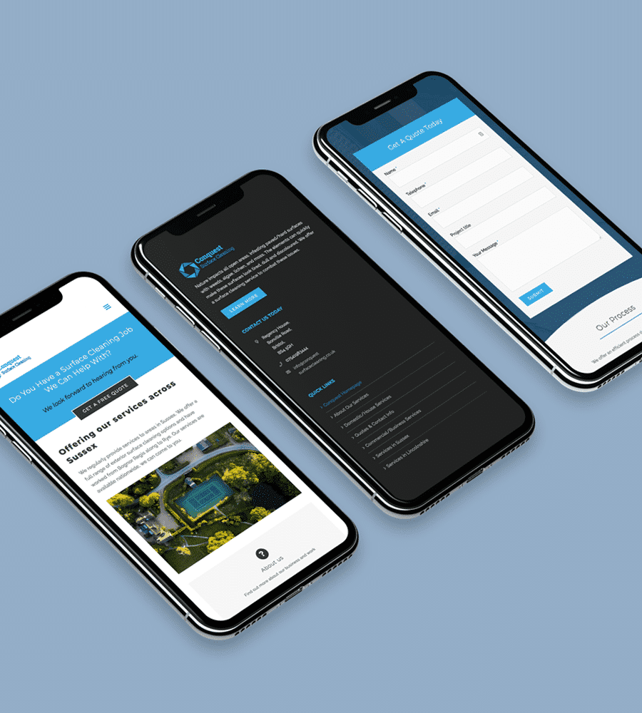 Cleaning Website Design on Mobile Device